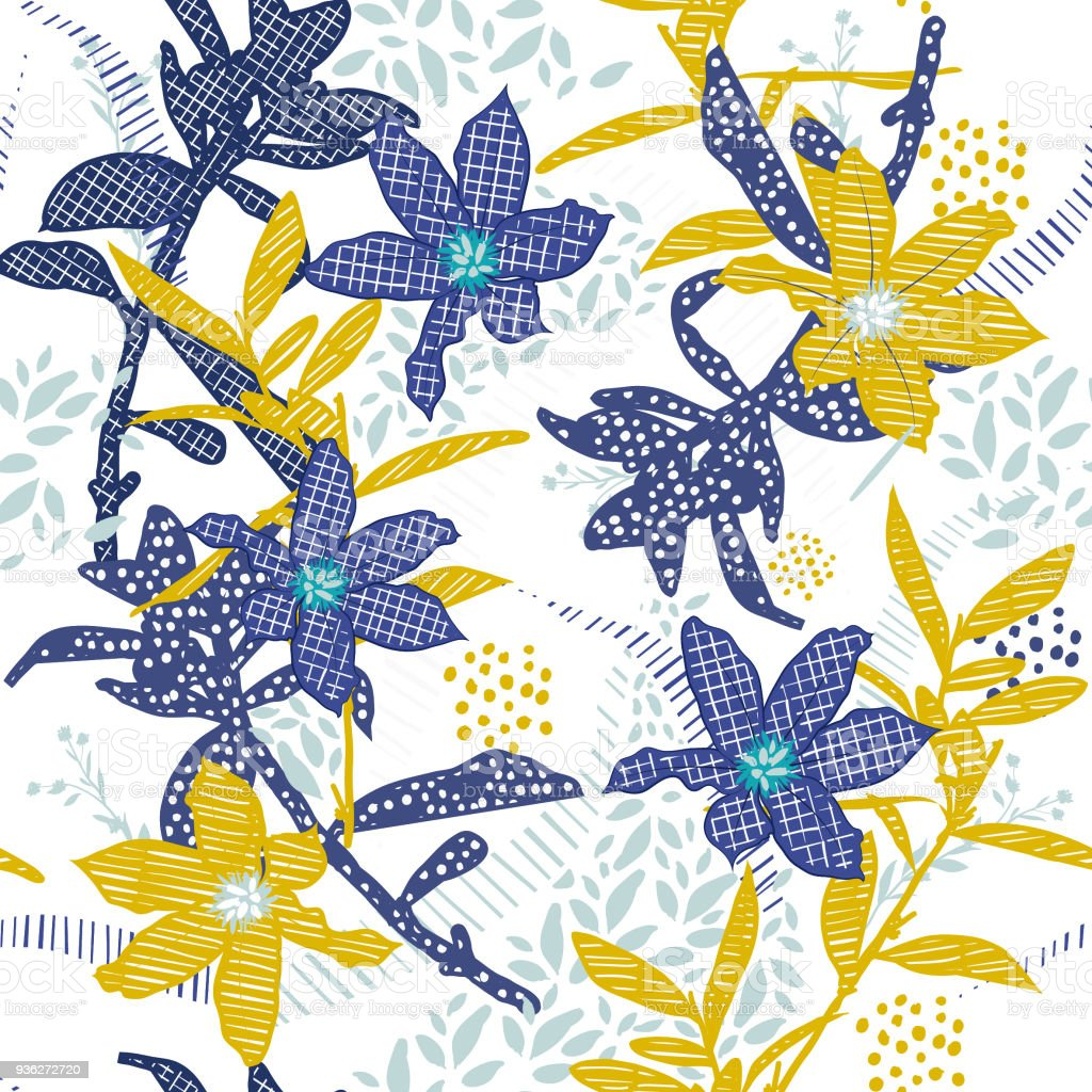 Seamless Pattern Vector Garden Blue And Yellow Flower In Hand