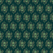 Original seamless pattern with gold elements on dark green background. Vector illustration