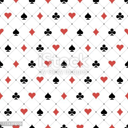 Seamless Pattern Playing Card Symbols
