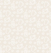 Seamless pattern coffee mug and coffee beans in vintage style