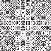 Set of 100 simple geometric patterns.