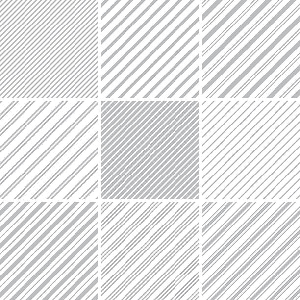 Seamless pattern Set of nine striped seamless patterns. diagonal stock illustrations