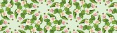 Seamless pattern with green leaves, pink flowers and bees on a blue background. Files include: Illustrator CS5, Illustrator 10.0 eps, SVG 1.1, pdf 1.5, JPEG, organized by layers, easy to edit.