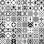 Set of 64 geometric patterns.