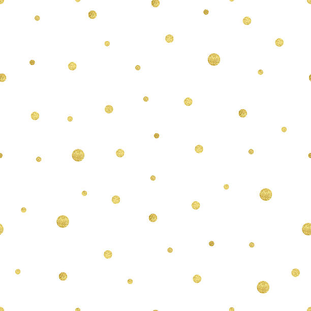 Seamless Pattern Vector illustration of gold polka dots. Seamless pattern with different size golden circle. Texture with gold confetti isolated on white background. Use for wedding invitation or save date card. polka dot stock illustrations