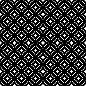 Seamless pattern. Stylish texture. Tile with regularly repeating geometrical elements, shapes, rhombuses, arches, crossed circles. Monochrome. Vector element of graphic design