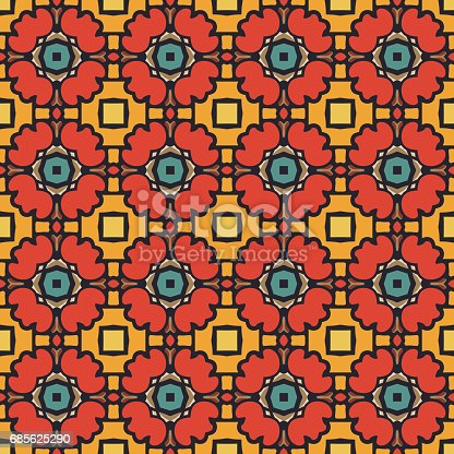 Seamless illustrated pattern made of abstract elements in beige, turquoise, yellow, red, orange, brown and black