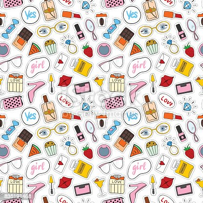 Seamless pattern. Cartoon patch. Set of stickers, pins, patches in cartoon 80s-90s comic style.