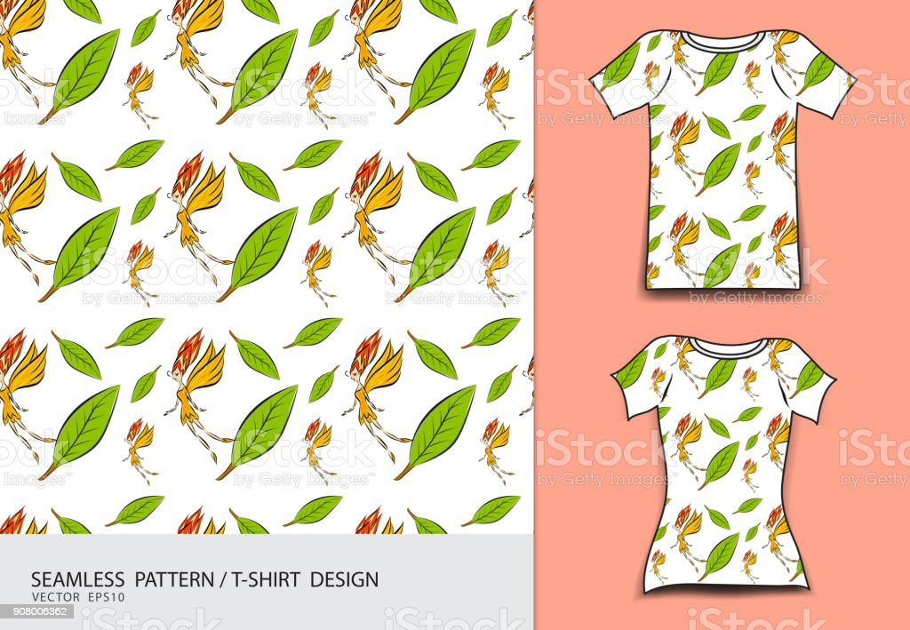 Seamless Pattern Vector Illustration Tshirt Design Fabric Texture Fashion Wear Clothing Leaves And Flower Nature Background Stock Illustration Download Image Now Istock