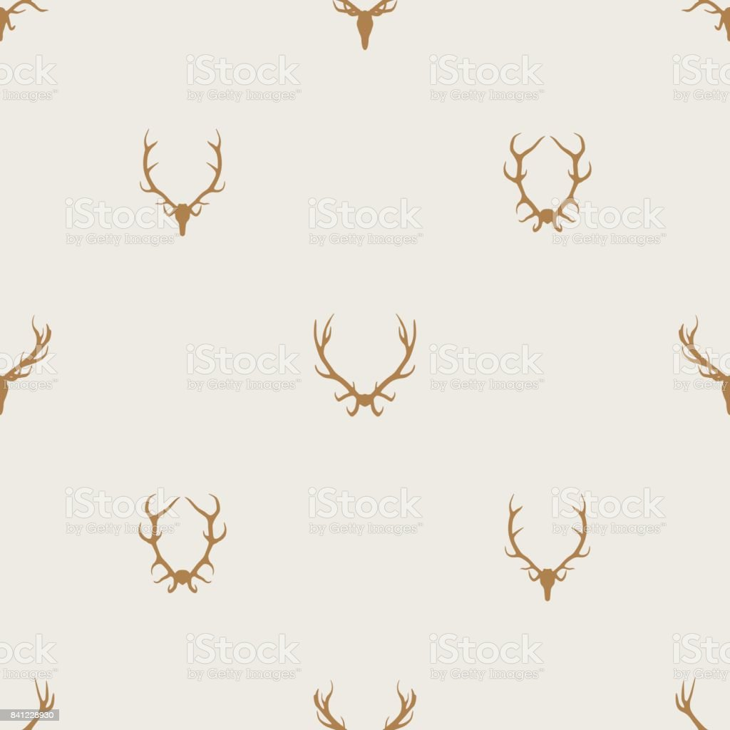 Seamless pattern vector minimalist background with deer antlers vector art illustration