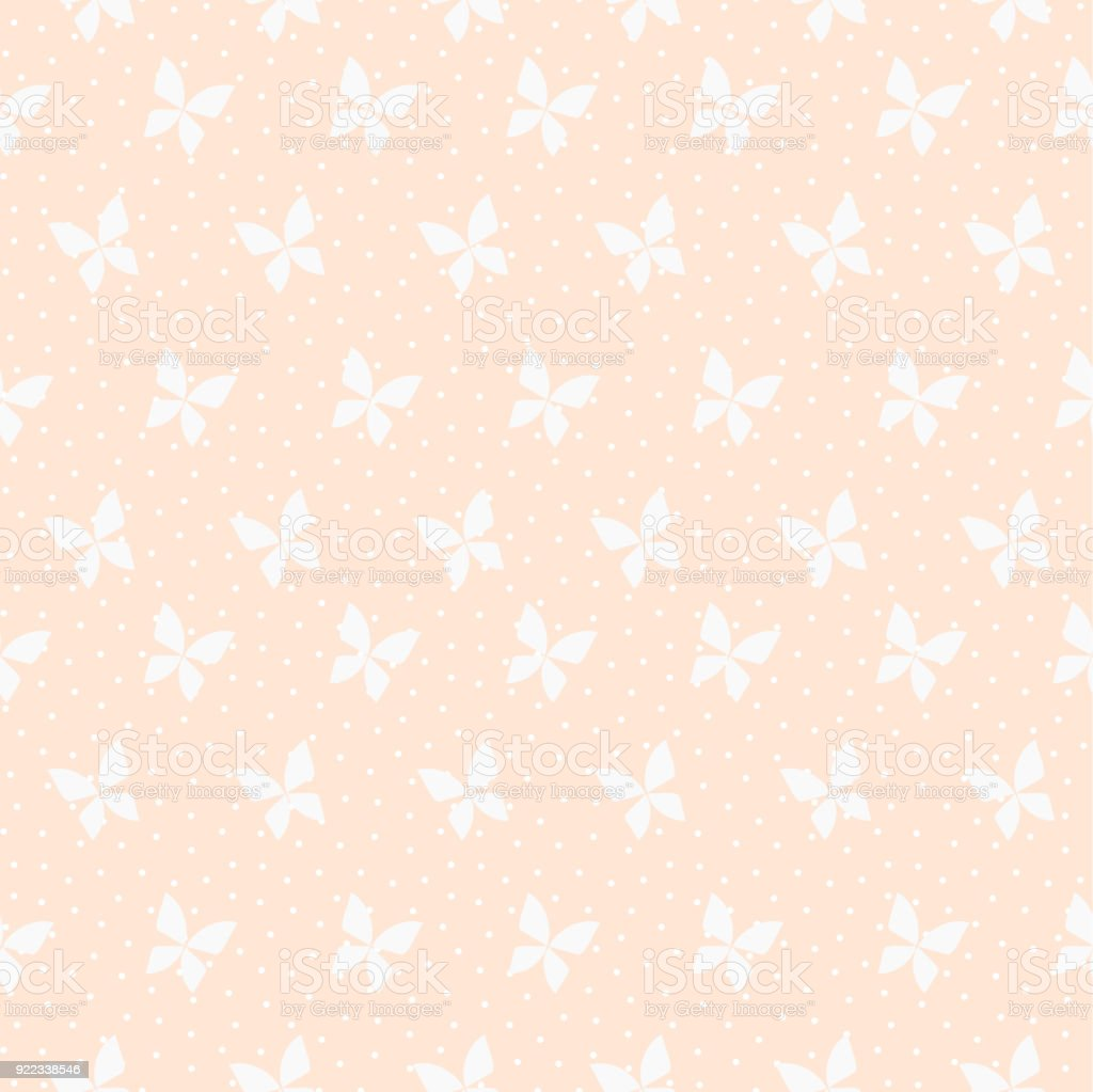 Seamless Pattern Vector Of Tiny Butterfly On Pastel Orange Background Royalty Free