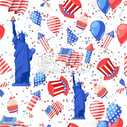 Usa Seamless Pattern Vector Print Background American National