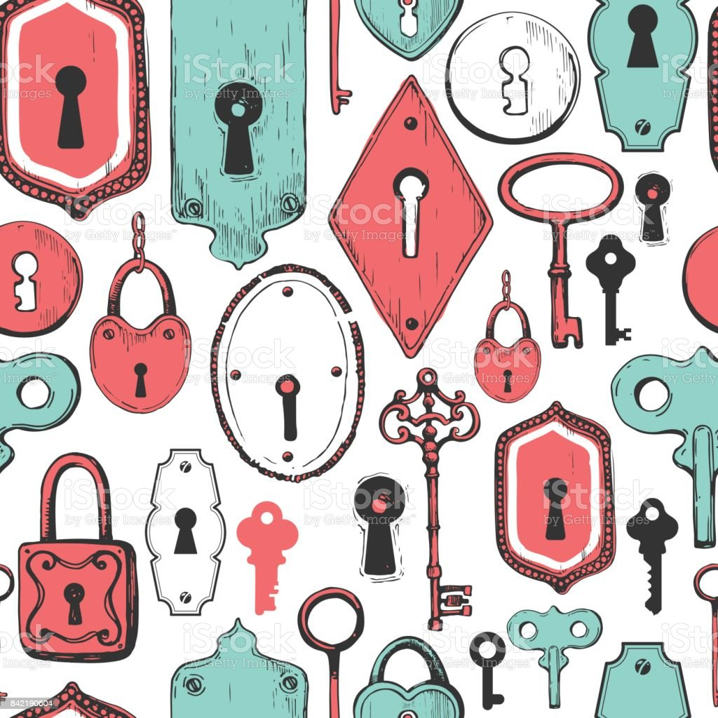 シームレス パターン手描きアンティーク鍵鍵穴ロックのベクトルを設定