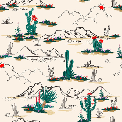 Seamless pattern vector summer cactus on desert mix with beautiful blooming succulents flower for fashion fabric and all prints