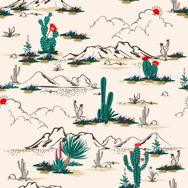 Seamless pattern vector summer cactus on desert mix with beautiful blooming succulents flower for fashion fabric and all prints vector art illustration