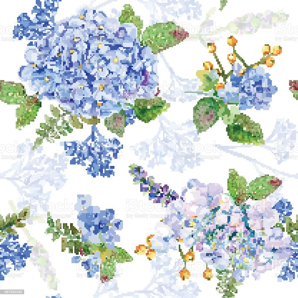 Seamless pattern. Vector watercolor blue hydrangea, lavender. vector art illustration
