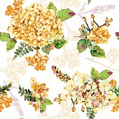 Seamless pattern. Vector watercolor yellow hydrangea, lavender.