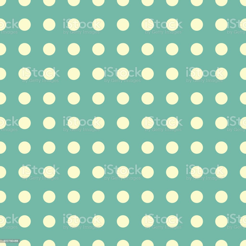 Seamless Pattern Vector With Yellow Polka Dots On Green Color ...