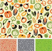 Seamless vegetable pattern design, easy to change color.