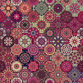 Seamless pattern. Vintage decorative elements.