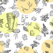 Seamless pattern Vintage hand drawn sketch design bar, restaurant, cafe menu background. Cold tea with ice, lemon and mint Creative template for flyer, banner, poster Engraving retro style Vector art.