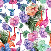 Seamless pattern watercolor tropical flowers, palm tree and birds. Tropical pattern with flamingos and exotic bright colors.