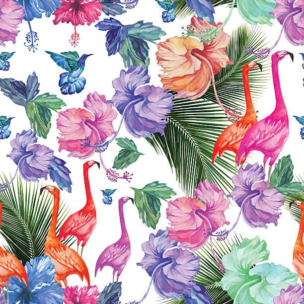 aquarell nahtlose muster mit tropischen blumen und palm-baum und vögel.   - hibiskusgarten stock-grafiken, -clipart, -cartoons und -symbole