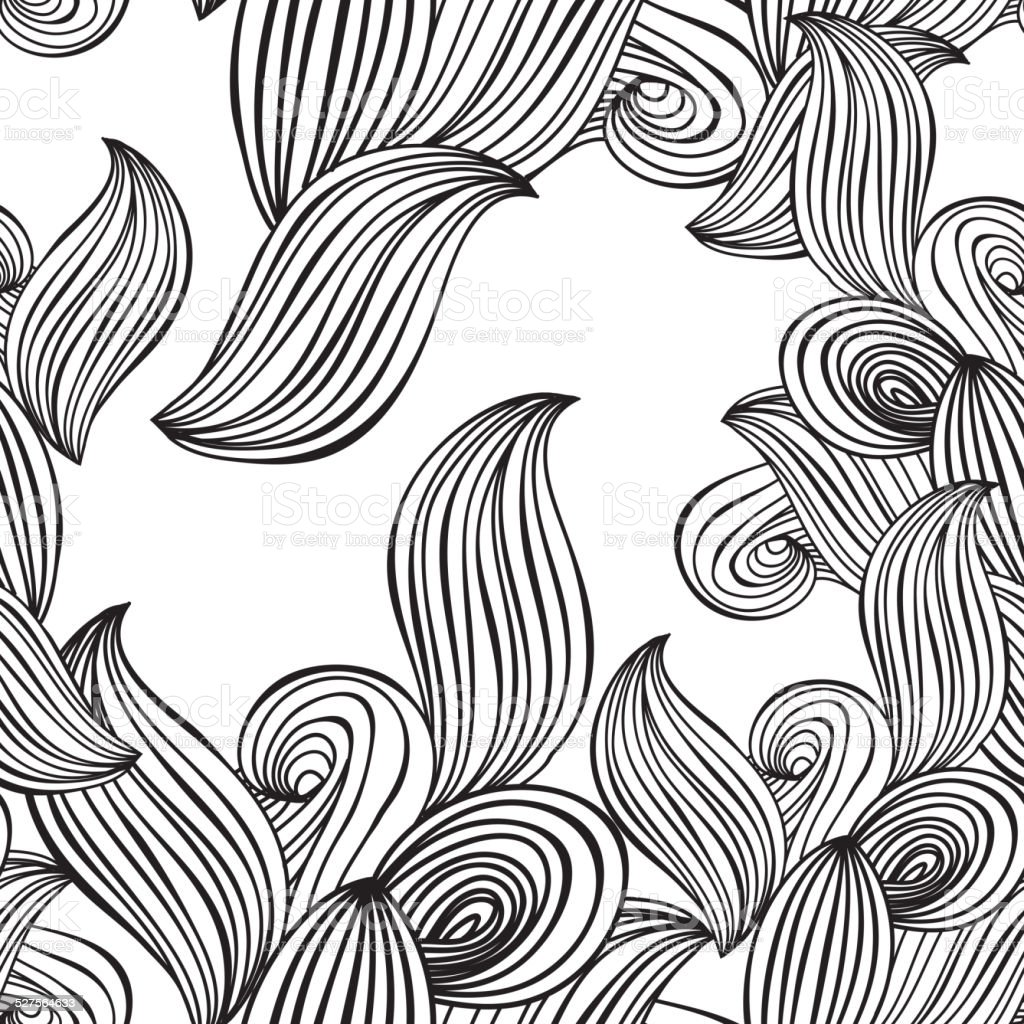 seamless pattern wave background black and white. vector vector art illustration