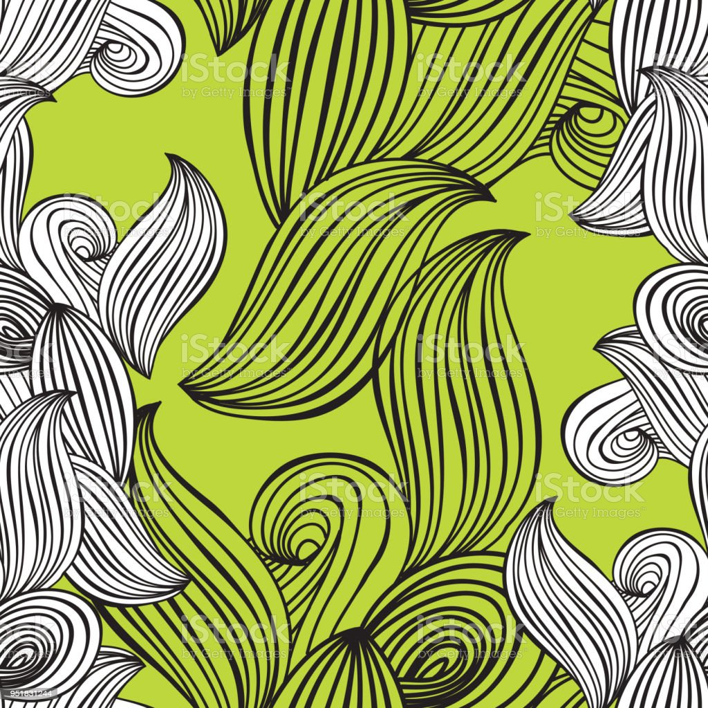Seamless Pattern Wave Black And White Handdrawn Lime Green Background For Wallpaper Pattern Fills Web Page Backgroundsurface Textures Adult Coloring