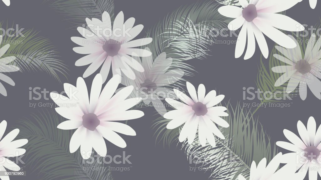 Seamless Pattern White Chrysanthemum Flowers With Palm Leaves On
