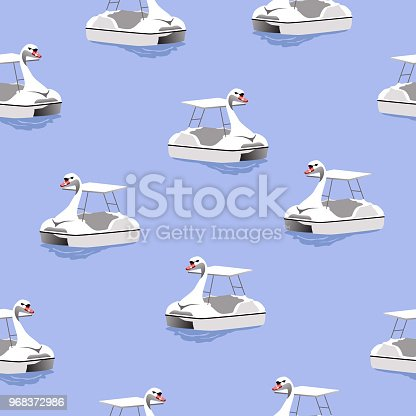seamless pattern white goose paddle boat on blue water, vector illustration