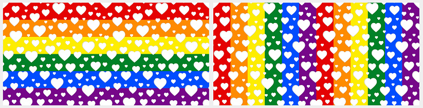 Seamless pattern: white hearts, lgbt flag background. Pride rainbow colors, cut out effect. Vector Valentine, romantic print.