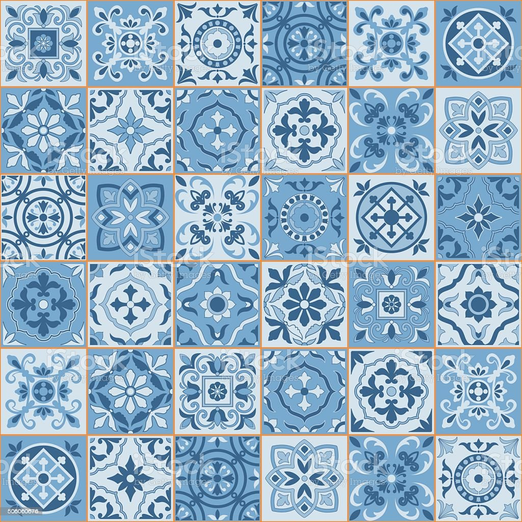 Seamless  pattern  white sereniti color Moroccan, Portuguese  tiles, Azulejo, ornaments. vector art illustration