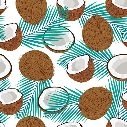 Seamless pattern whole coconut and piece with blue palm leaves, Vector illustration