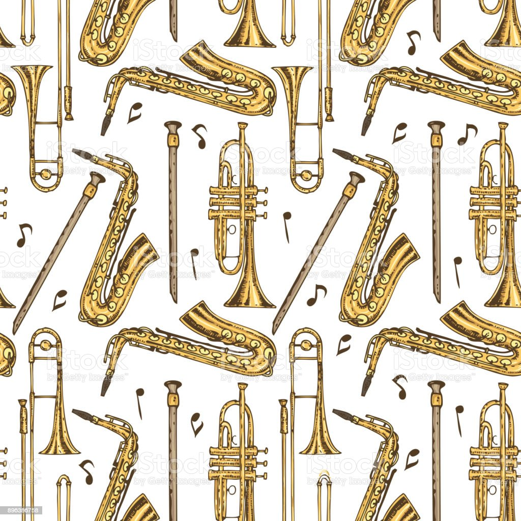 Seamless Pattern Wind Instruments And Notes Stock