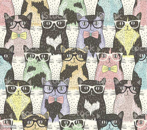 Seamless pattern wit cute hipster cats for children vector id187919983?b=1&k=6&m=187919983&s=612x612&h=ntutujyra8j1ux4uw5nyfqgccqs2l6kzhnaqnfkxfeg=