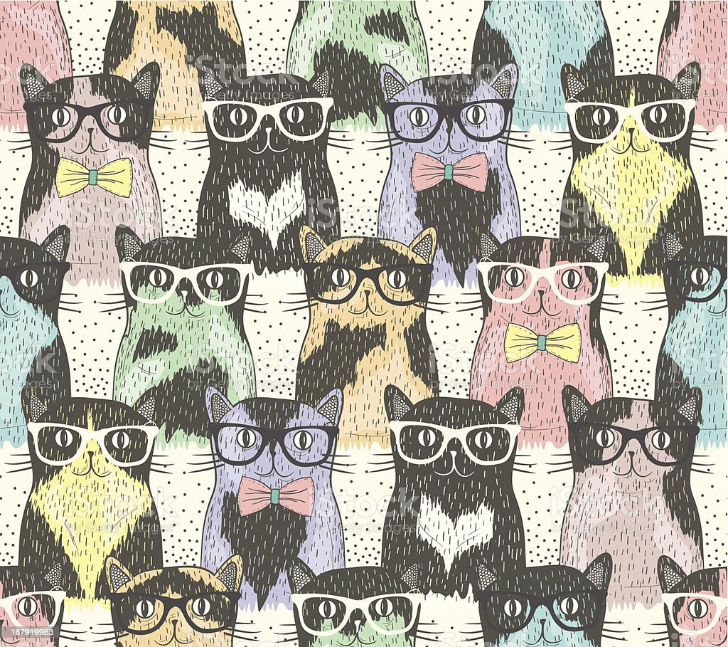 Seamless pattern wit cute hipster cats for children vector art illustration
