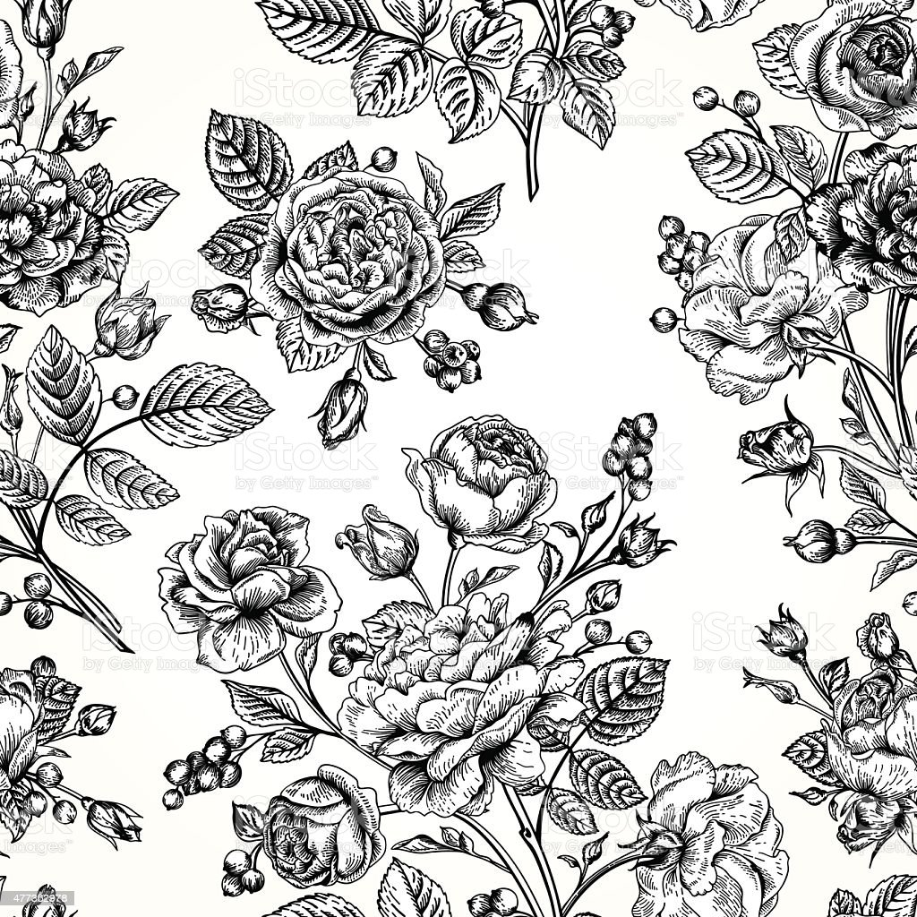 Seamless pattern wit roses. vector art illustration