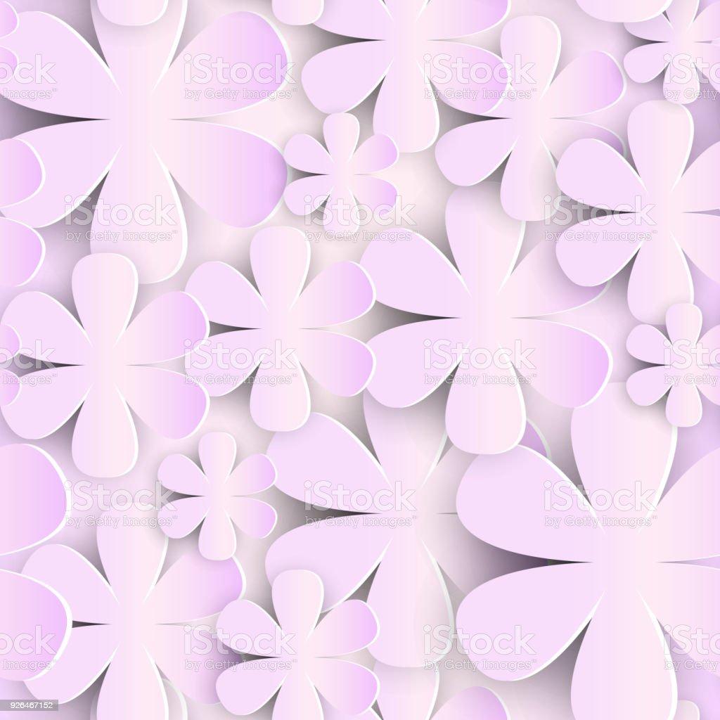 nahtlose muster mit 3d papier blumen rosa hintergrund niedlichen romantischen ornament lizenzfreies nahtlose muster mit 3d - Bastelpapier Muster