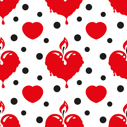 Seamless pattern with a burning candle in the shape of a red heart and black circles on a white background