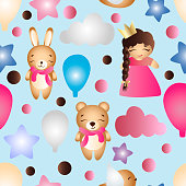 Seamless pattern with a cartoon cute toy baby girl bunny stars clouds bear and balloons on a blue background