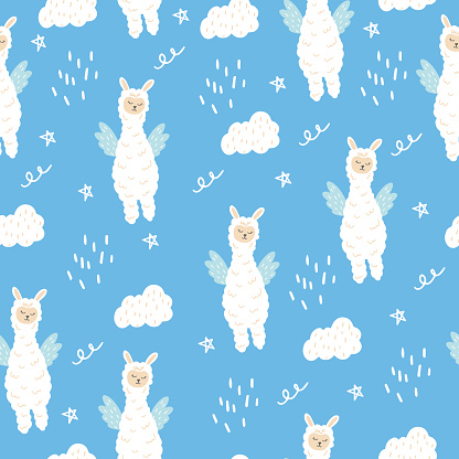 Seamless pattern with a cute llama with wings. A fabulous animal with wings.
