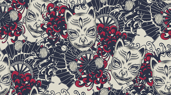 Seamless pattern with a Kitsune mask on the Japanese theme.