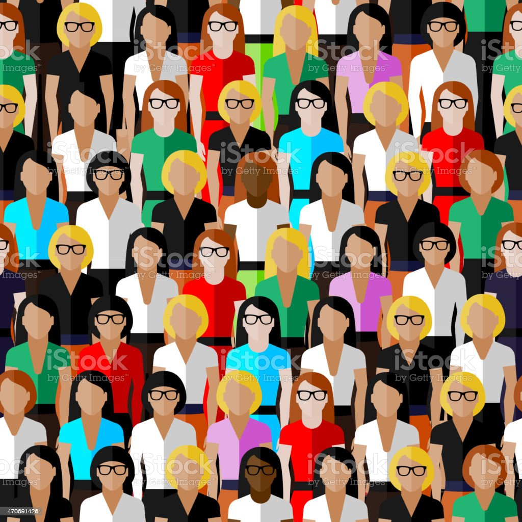 seamless pattern with a large group of well- dresses ladies vector seamless pattern with a large group of well- dresses ladies. flat  illustration of business or politics community. Women stock vector