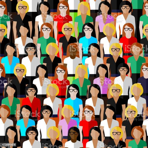 Seamless Pattern With A Large Group Of Well Dresses Ladies Stock Illustration - Download Image Now