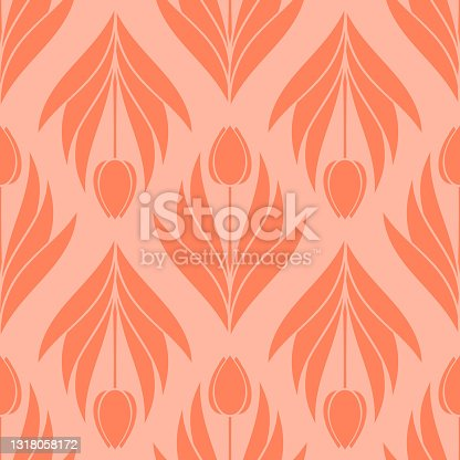 istock Seamless pattern with a pattern of the silhouette of tulips and leaves. Design in coral, orange for printing, packaging, fabric. Electric Tangerine. Damascus styling. Vector 1318058172
