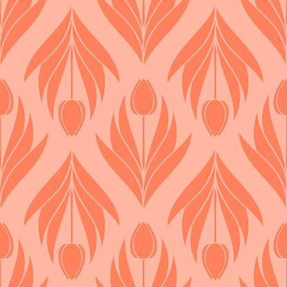 Seamless pattern with a pattern of the silhouette of tulips and leaves. Design in coral, orange for printing, packaging, fabric. Electric Tangerine. Damascus styling. Vector