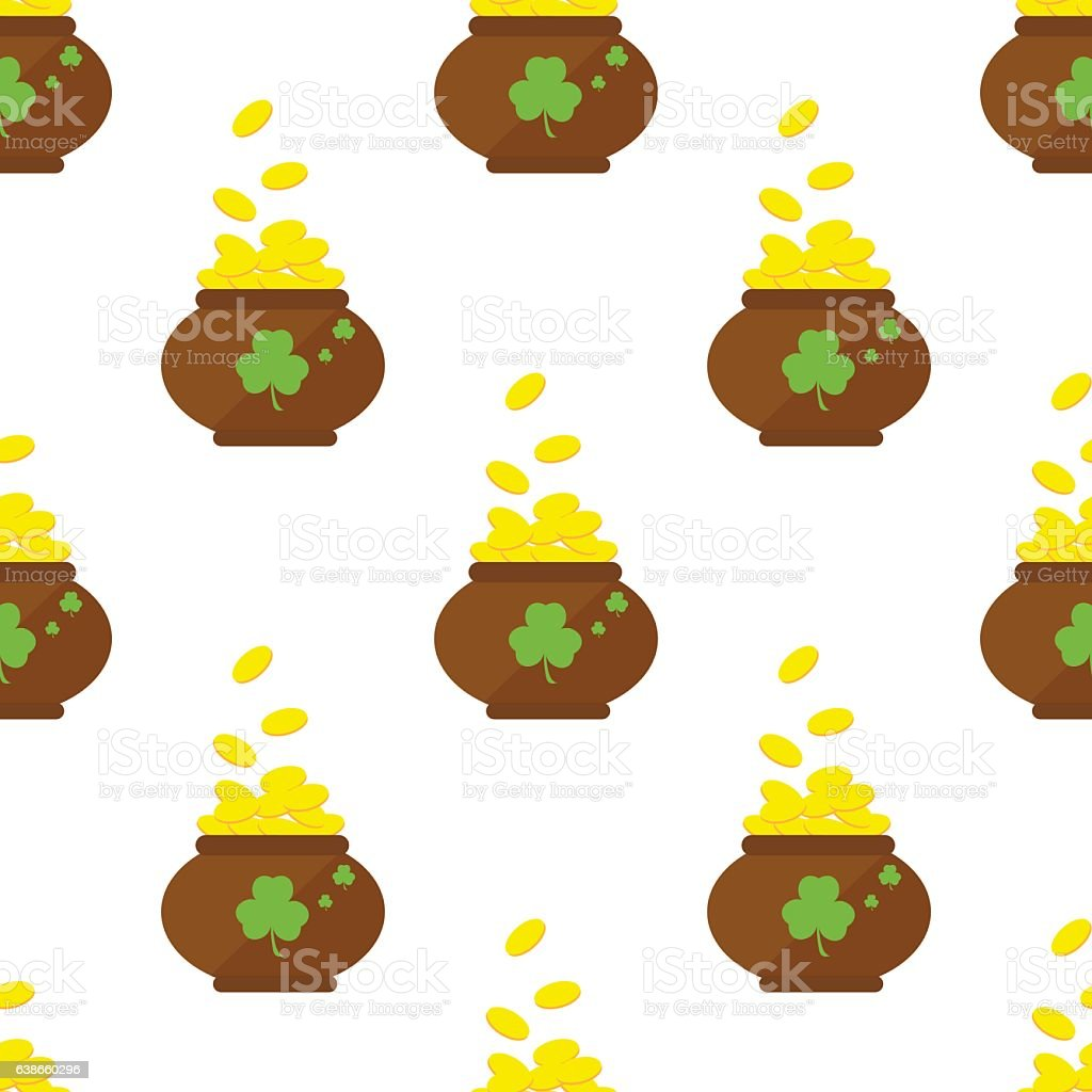seamless pattern with a pot of gold fourleaf clover vector stock
