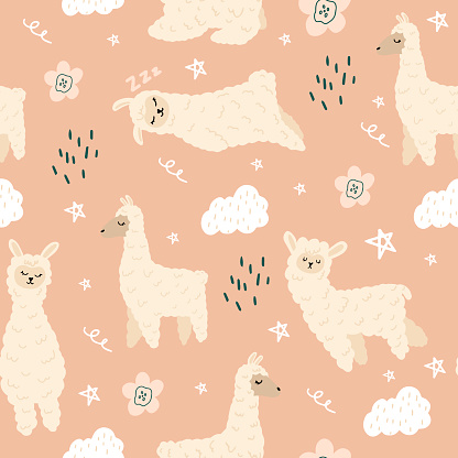 Seamless pattern with a set of lammas and clouds.