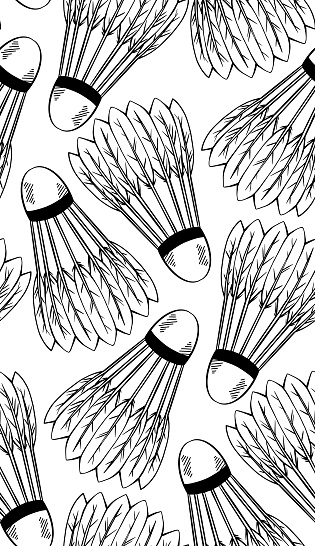 Seamless pattern with a sketch of shuttlecocks for playing badminton on white background. Sports equipment. Vector black and white texture
